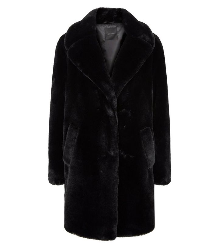 Black Faux Fur Longline Coat New Look, New Look White Faux Fur Longline Coat