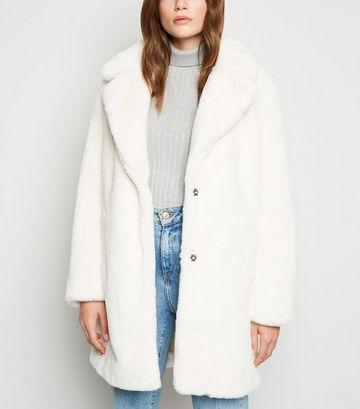 White Faux Fur Longline Coat