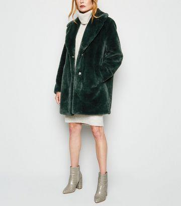 Dark Green Faux Fur Longline Coat