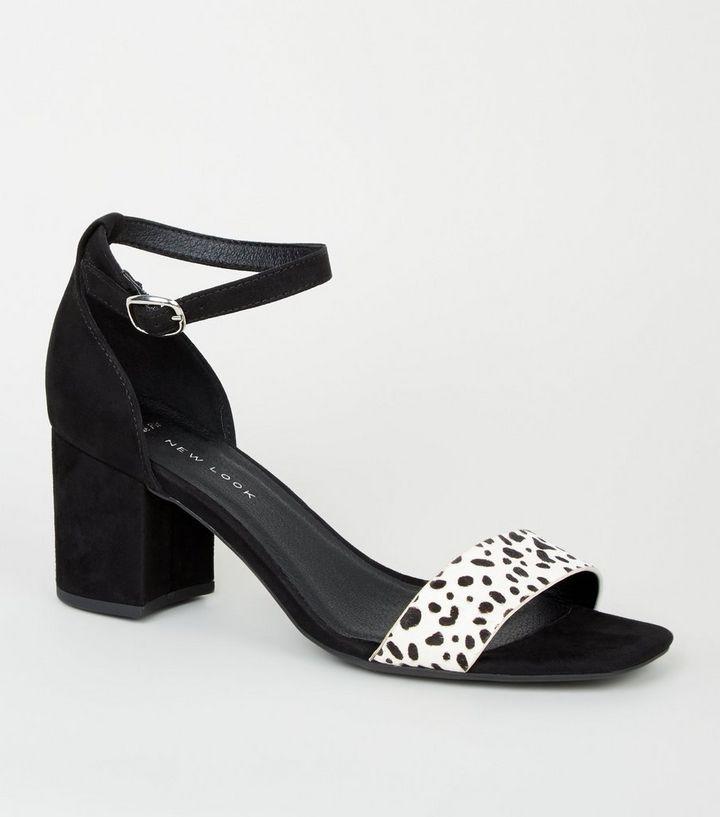 2d46f8681bf Wide Fit Black Animal Print 2 Part Block Heels
