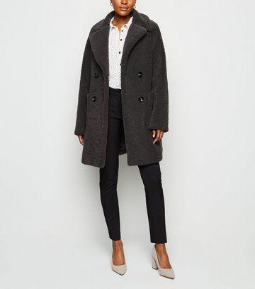 Dark Grey Double Breasted Longline Teddy Coat
