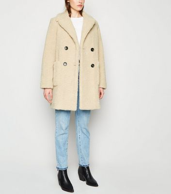 Cream Double Breasted Longline Teddy Coat