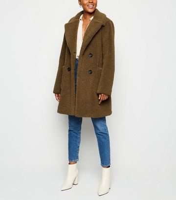 Rust Double Breasted Longline Teddy Coat