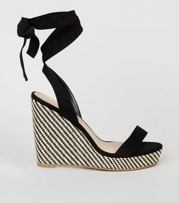 Wide Fit Black Woven Wedge Heel Sandals