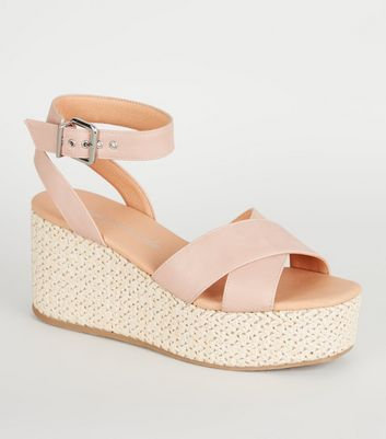 Nude Cross Strap Woven Flatform Sandals