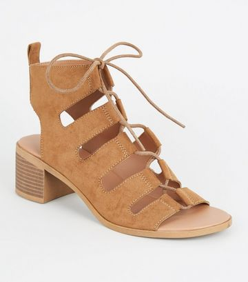Tan Ghillie Lace Up Low Heel Sandals