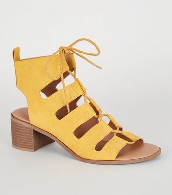 Mustard Ghillie Lace Up Low Heel Sandals