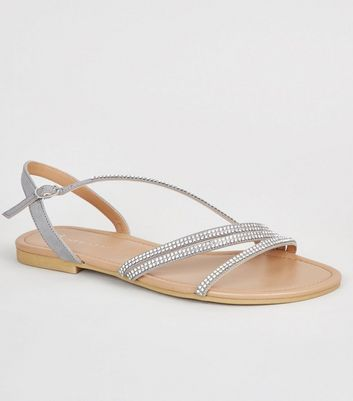 Wide Fit Grey Diamanté Strappy Sandals