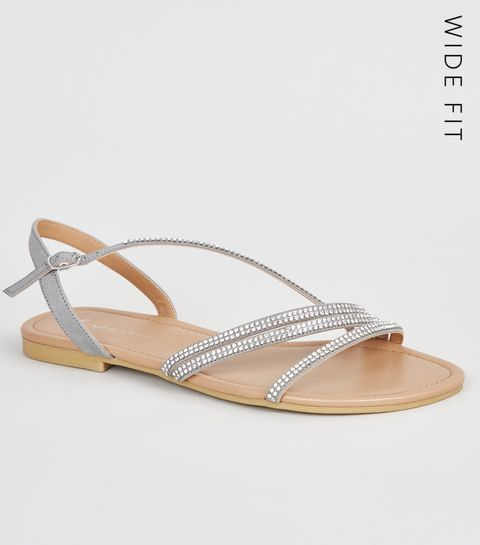 aecfa695015 ... Wide Fit Grey Diamanté Strappy Sandals ...