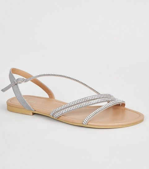 20f9216e3c49 ... Wide Fit Grey Diamanté Strappy Sandals ...