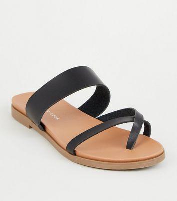 Footbed Look Fit Loop Wide Toe Black SandalsNew EDW2eHI9Y