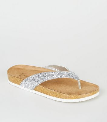 Wide Fit Silver Glitter Footbed Flip Flops