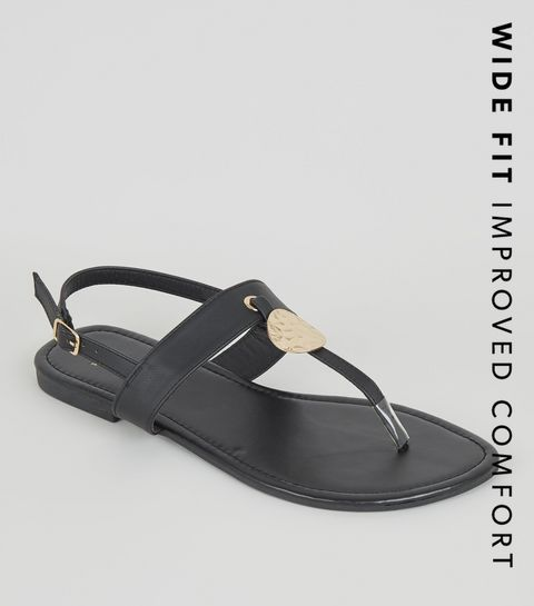 9a0eb9f4b20 ... Wide Fit Black Hammered Ring Sandals ...