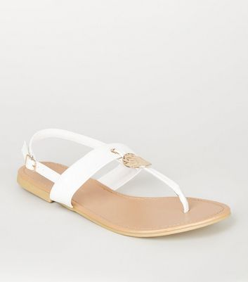 Wide Fit White Hammered Disc Sandals