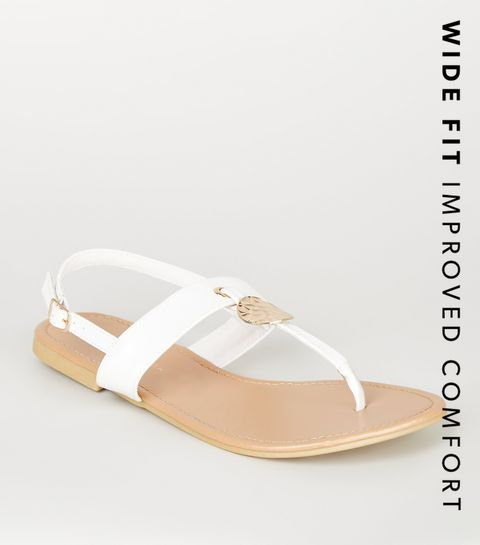 258aba090368 ... Wide Fit White Hammered Ring Sandals ...