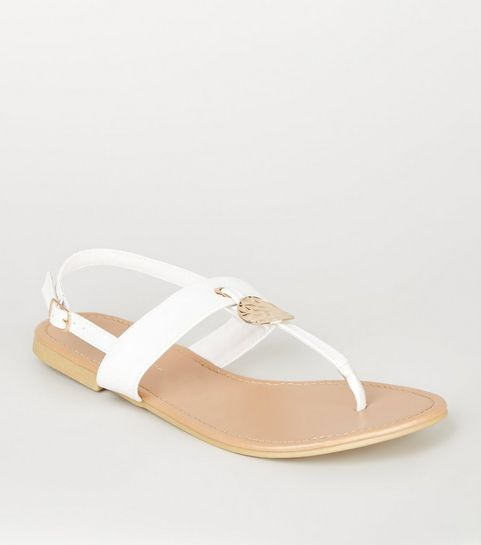 a4e79479fe2e ... Wide Fit White Hammered Ring Sandals ...