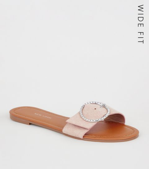 ... Wide Fit Nude Diamanté Buckle Sliders ... 4dd5811348ac