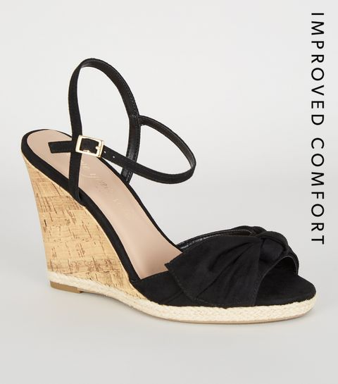 f54c36fb6 ... Black Bow Front Espadrille Cork Wedge Sandals ...