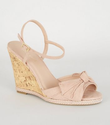 Nude Bow Front Espadrille Cork Wedges