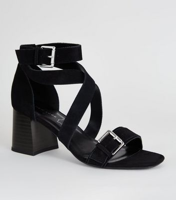 Black Suede Strappy Block Heel Sandals