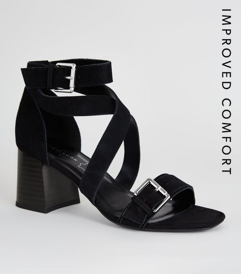 d7bee8bfe8f ... Black Suede Strappy Block Heel Sandals ...