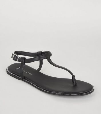 Wide Fit – Schwarze Sandalen in Leder-Optik mit Strass