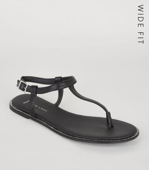 3f24738d467d3 ... Wide Fit Black Leather-Look Diamanté Sandals ...