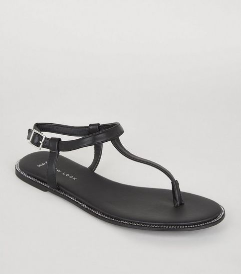 e56c308ac7e02d ... Wide Fit Black Leather-Look Diamanté Sandals ...
