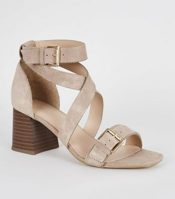 Light Brown Suede Buckle Strap Block Heels