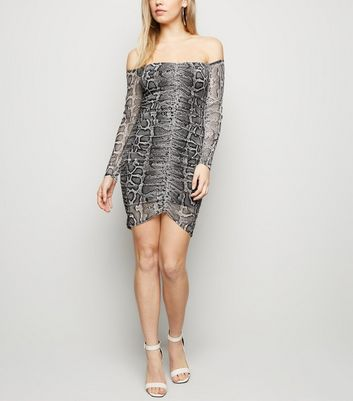 Light Grey Snake Print Mesh Ruched Front Dress