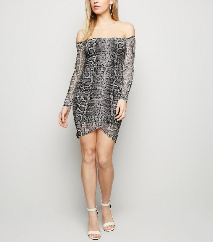 a587657c89 Light Grey Snake Print Mesh Ruched Front Dress | New Look