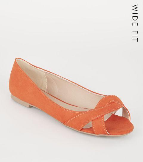 ea1a3160e36d ... Wide Fit Orange Suedette Twist Pumps ...