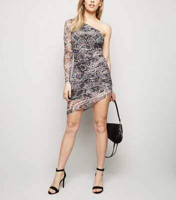 Light Grey Snake Print One Shoulder Mesh Dress