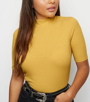 Petite Mustard Ribbed Funnel Neck Top