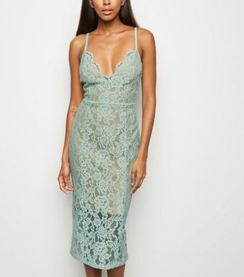 Mint Green Lace Scallop Neck Midi Dress