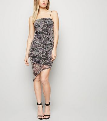 Light Grey Snake Print Strappy Mesh Dress