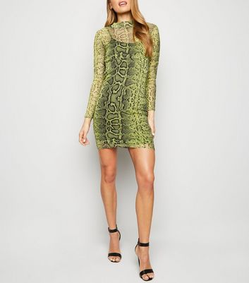 Green Neon Snake Print Mesh Bodycon Dress