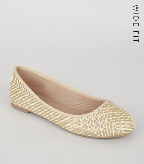 a51214c4be33ad ... Wide Fit Off White Woven Zig Zag Ballet Pumps ...