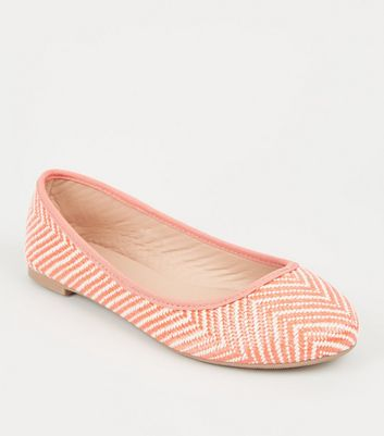 Wide Fit Orange Woven Zig Zag Ballet Pumps