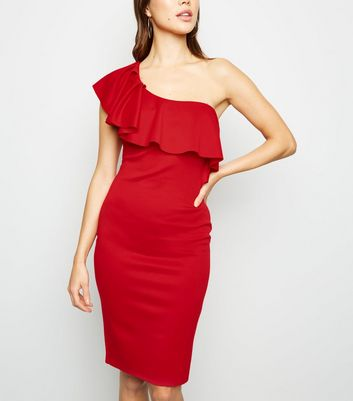 Red One Shoulder Ruffle Bodycon Dress