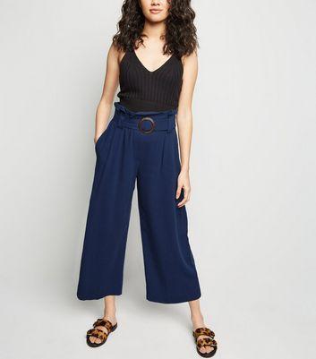Petite Navy Linen Look Crop Trousers by New Look