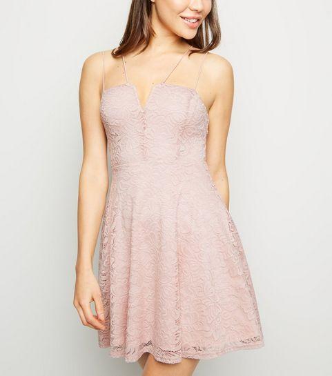 42aa563fb4d2 ... Pink Lace Notch Neckline Skater Dress ...