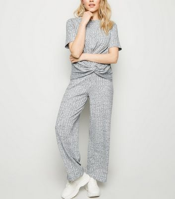 Petite Grey Marl Ribbed Wide Leg Joggers