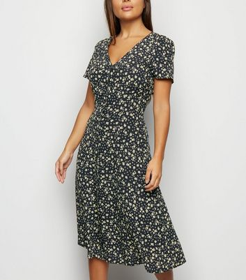 Petite Black Floral Button Front Midi Dress