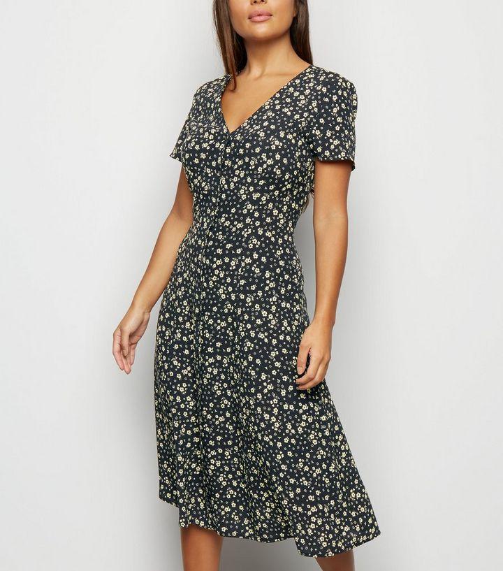 0f31861dff Petite Black Floral Button Front Midi Dress