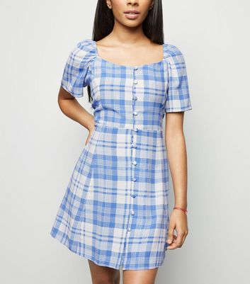 Petite Blue Check Square Neck Tea Dress