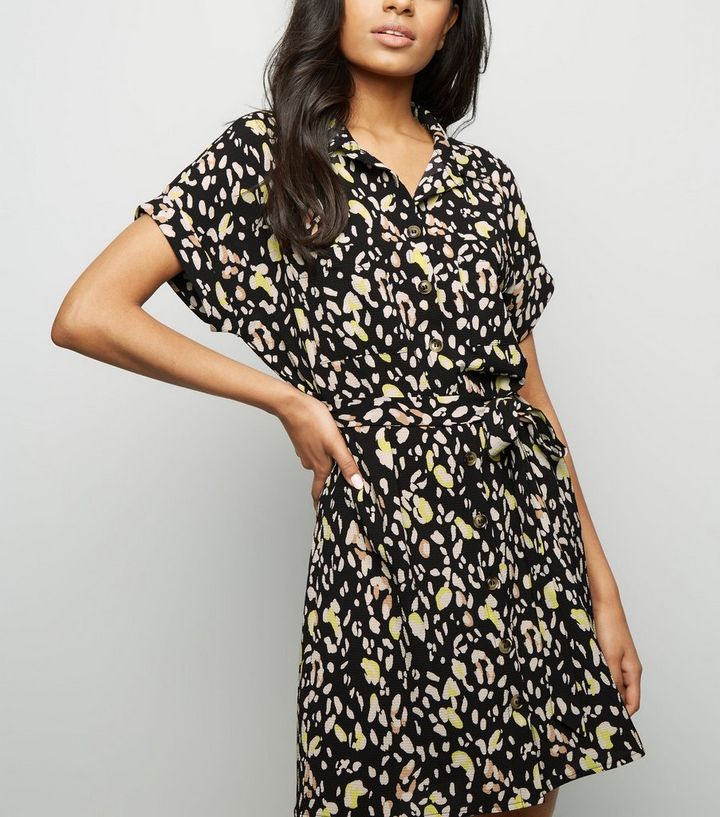 f7fe5f1cab Petite Black Animal Print Shirt Dress