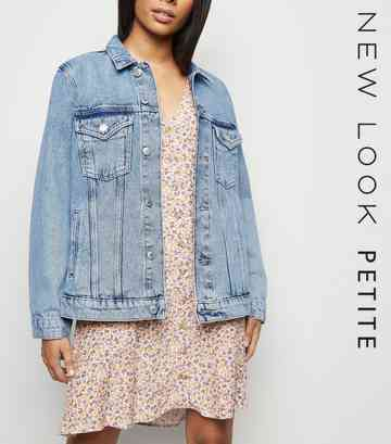 Petite Blue Acid Wash Oversized Denim Jacket