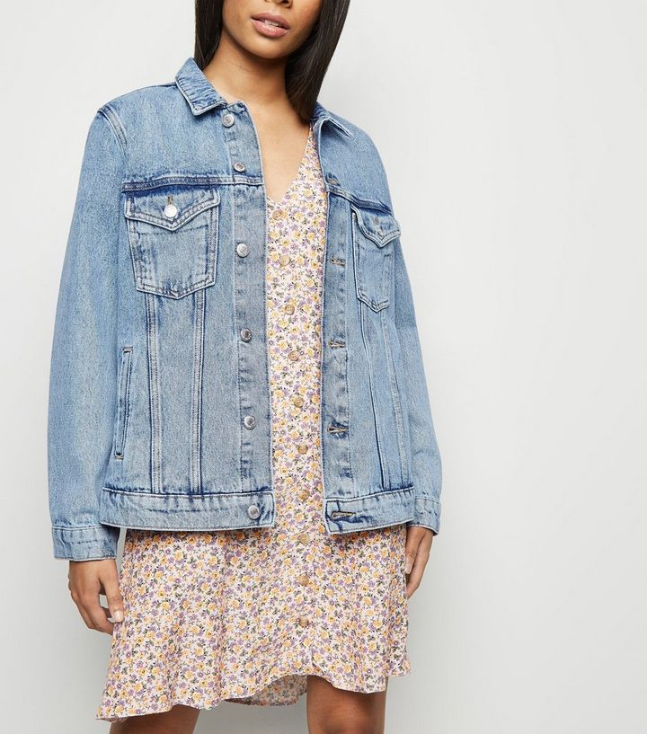877163744 Petite Blue Acid Wash Oversized Denim Jacket Add to Saved Items Remove from  Saved Items