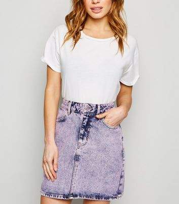 Petite Purple Acid-Wash Mini Skirt